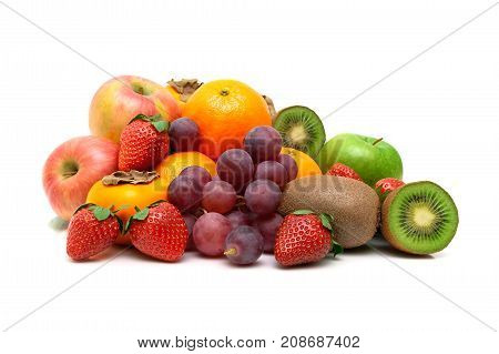 ripe berries and fruits isolated on white background. horizontal photo.