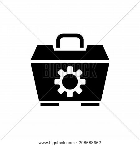 Icon of hand toolbox. Container, mechanism, bag. Tools concept. Can be used for topics like repair, service technician, diy