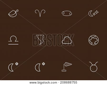 Set Of 12 Editable Weather Outline Icons. Includes Symbols Such As Lion, Moon With Star, Lunar And More