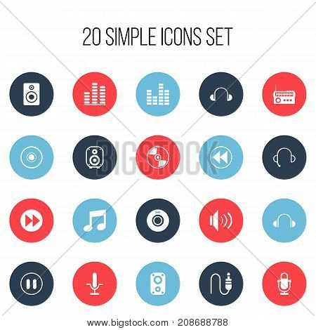 Set Of 20 Editable Song Icons. Includes Symbols Such As Next, Audio Bass, Broadcasting And More