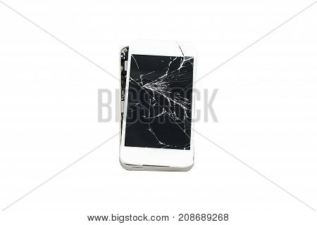 Smartphone With Broken Screen Isolated White Background