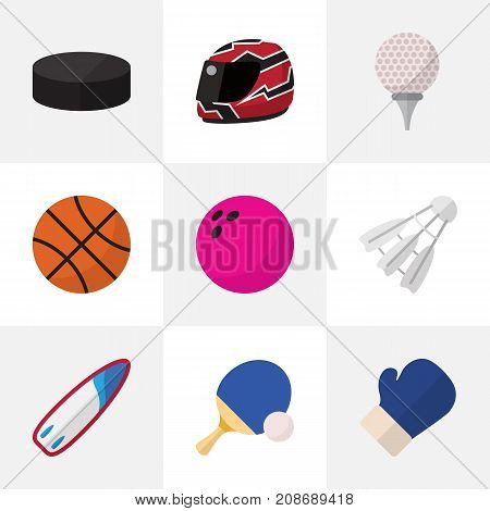 Set Of 9 Editable Lifestyle Flat Icons. Includes Symbols Such As Tennis, Fighting, Kegling And More