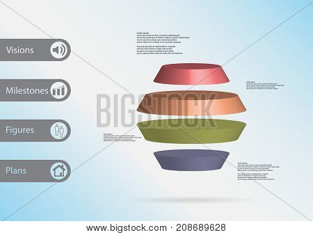 3D Illustration Infographic Template With Round Hexagon Horizontally Divided To Four Color Slices