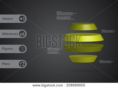 3D Illustration Infographic Template With Round Hexagon Horizontally Divided To Four Green Slices