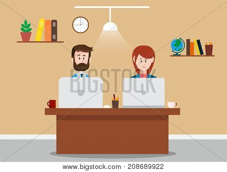 Business man and business woman working together in office. Teamwork concept. Vector stock.