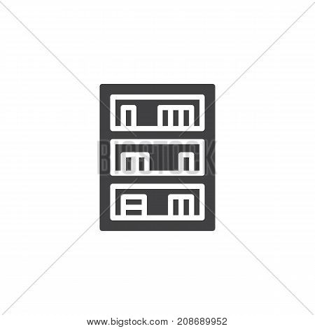 Bookcase household furniture icon vector, filled flat sign, solid pictogram isolated on white. Symbol, logo illustration.