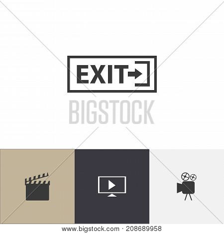 Set Of 4 Editable Filming Icons. Includes Symbols Such As Start Video, Outlet, Camcorder And More