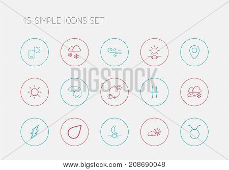 Set Of 15 Editable Weather Outline Icons. Includes Symbols Such As Twins, Lunar, Sun And More