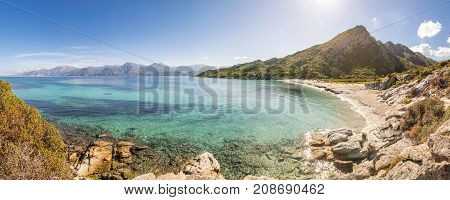 Sandy Beach And Coastline Of Desert Des Agriates In Corsica
