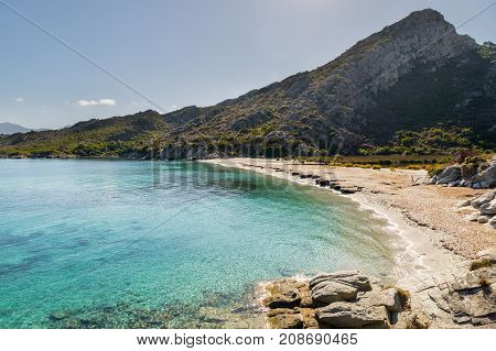 Sandy Beach And Coastline Of Desert Des Agriates In Corsica