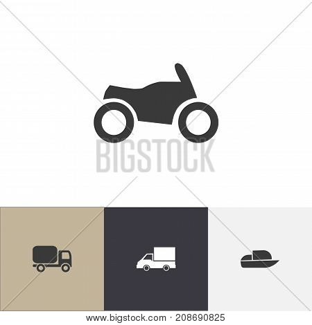 Set Of 4 Editable Transport Icons. Includes Symbols Such As Service Car, Yacht, Camion And More