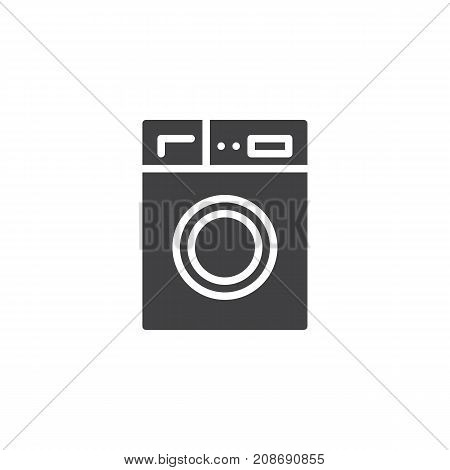 Washer machine household equipment icon vector, filled flat sign, solid pictogram isolated on white. Laundry symbol, logo illustration.