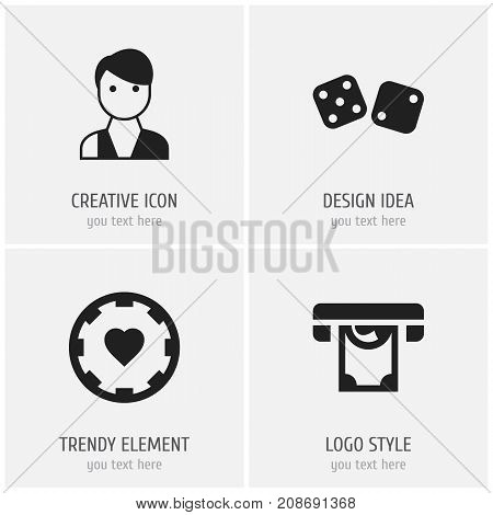 Set Of 4 Editable Business Icons. Includes Symbols Such As Trader, Printer, Gambling Cube And More