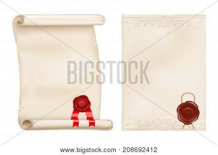 Parchment scroll and old paper with wax seal. Vector 3d illustration isolated on white background
