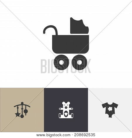 Set Of 4 Editable Child Icons. Includes Symbols Such As Adorn, Small Dresses, Bear Toy And More
