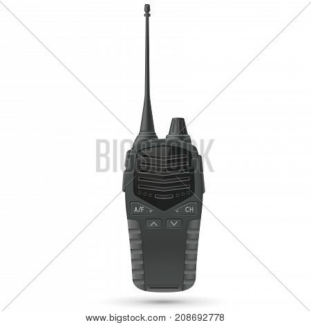 Radio transceiver. Black portable device with antenna. Vector 3d illustration isolated on white background