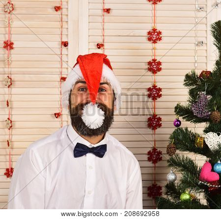Santa Claus In Red Hat With Cheerful Face
