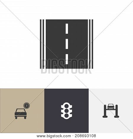Set Of 4 Editable Car Icons. Includes Symbols Such As Stoplight, Highway, Service And More