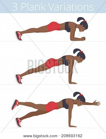 Beautiful black young women are doing the plank exercises. Flat illustration of afroamerican sporty girls are training in the plank positions: forearm, push up, two-point. Vector active people set.