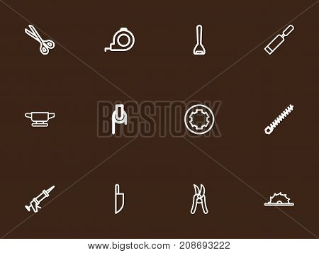 Set Of 12 Editable Apparatus Outline Icons. Includes Symbols Such As Circle Blade, Putty Knife, Rotating Bit And More