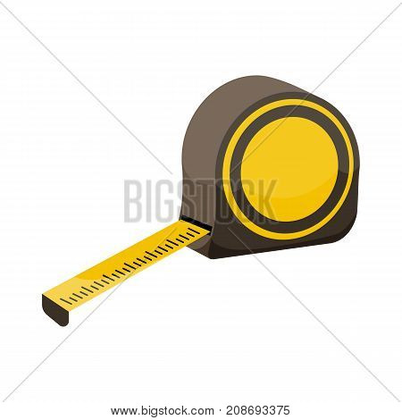 Measuring roulette on white background cartoon illustration of repair tool. Vector