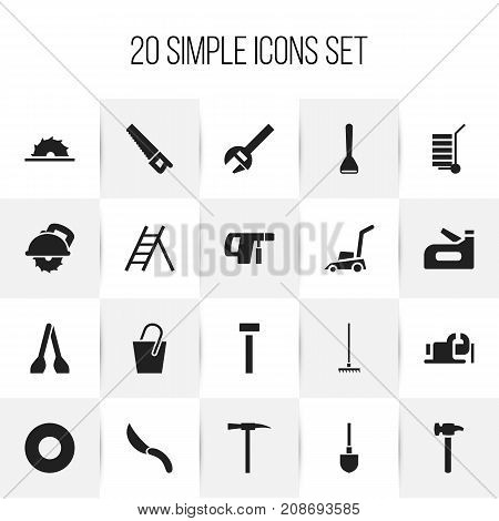 Set Of 20 Editable Equipment Icons. Includes Symbols Such As Screwdriver, Jackknife, Grass Cutting Machine And More