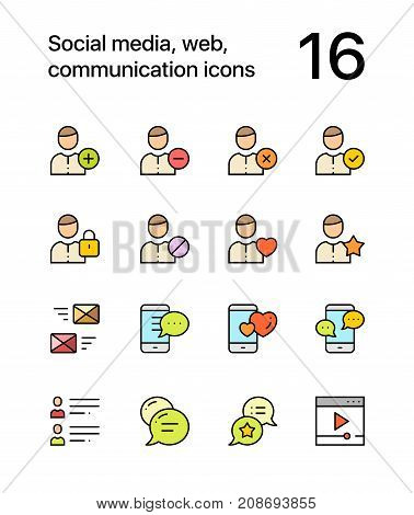 Colored Social, web, communication icons for web and mobile design pack 1