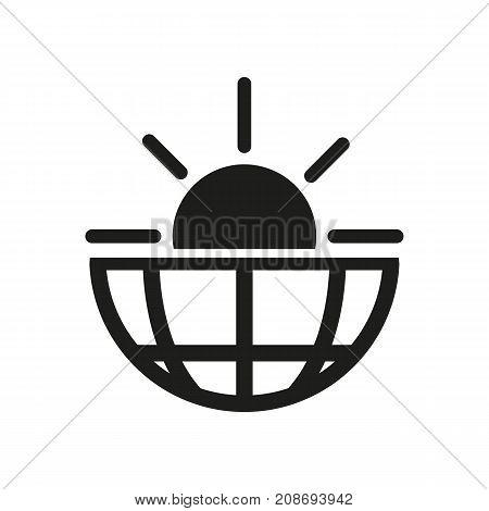 Icon of sunrise over Earth. Morning, horizon, sunshine. Biology concept. Can be used for topics like nature, global warming, meteorology