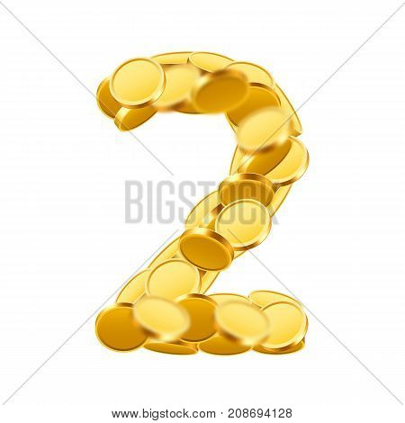 Vector font style made of golden coins. Coin numbers. Number 2. Two. Vector illustration