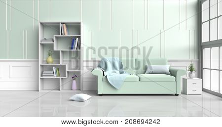 White-green room decorated with green sofa ,tree in glass vase, pillows, Wood bedside table, Bookcase, blue blanket, Window, green -white cement wall it is pattern, white cement floor. 3d rendering.