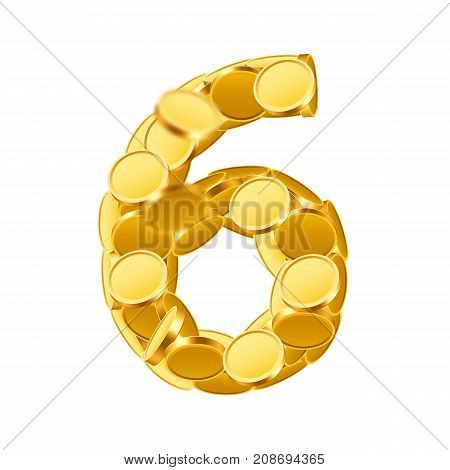 Vector font style made of golden coins. Coin numbers. Number 6. Six. Vector illustration
