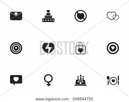Set Of 12 Editable Passion Icons. Includes Symbols Such As Love Message, Aim, Pastry And More
