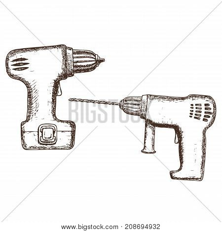Drill and electric screwdriver on white background cartoon illustration of repair tool. Vector