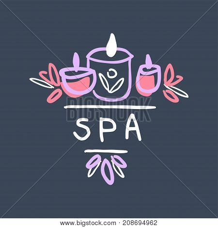 Spa logo template, emblem with burning candles for wellness, yoga center hand drawn vector Illustration on a dark blue background