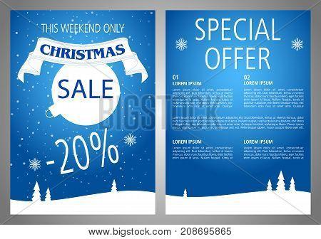 Vector Christmas Sale Flyer Design In Blue Color.