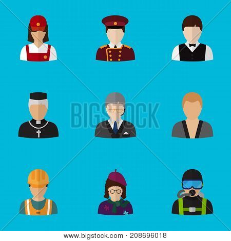 Set Of 9 Editable Profession Flat Icons. Includes Symbols Such As Doorman, Padre, Servant And More