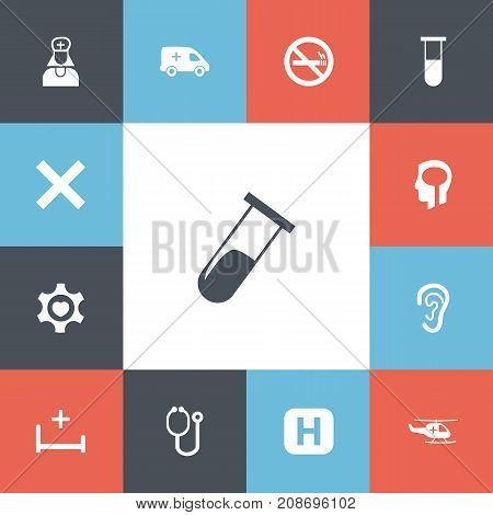Set Of 13 Editable Clinic Icons. Includes Symbols Such As Doctor Tool, Clinic, No Check And More