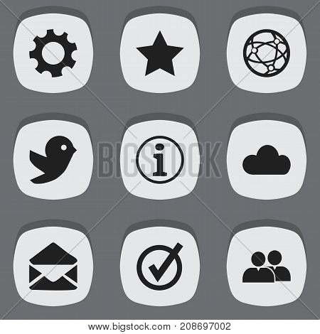 Set Of 9 Editable Network Icons. Includes Symbols Such As Network, Sky, Bookmark And More