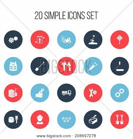 Set Of 20 Editable Building Icons. Includes Symbols Such As Hacksaw, Shovel, Cork Jacket And More