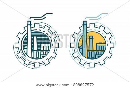 Industry, industrial enterprise, factory logo or label. Vector illustration isolated on white background
