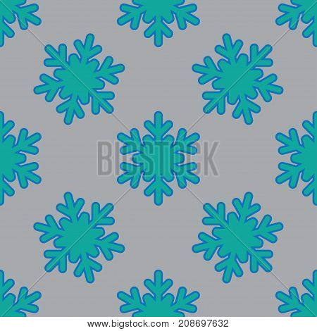 Seamless pattern with snowflakes on gray background. Vector Illustration