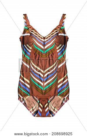 Vintage brown swimming suit isolated over white