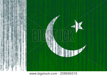 Data Protection Pakistan Flag. Pakistan Flag With Binary Code.