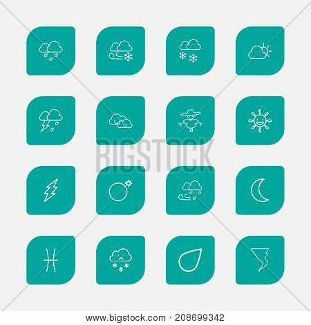 Set Of 16 Editable Air Outline Icons. Includes Symbols Such As Twins, Weather, Raindrop And More