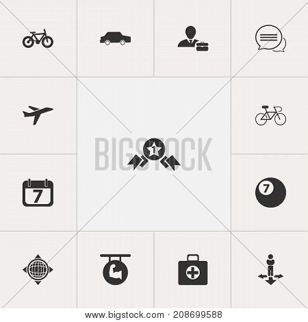 Set Of 13 Editable Complex Icons. Includes Symbols Such As Car, Employee, Billiard And More