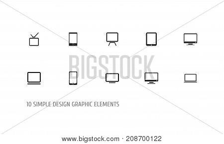 Set Of 10 Editable Gadget Icons. Includes Symbols Such As Tv, Tablet Phone, Screen And More