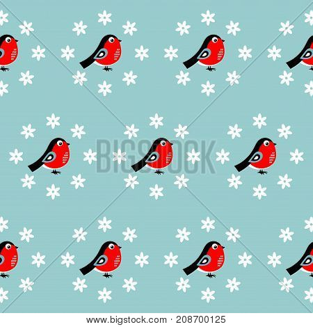 Christmas pattern with bullfinches. Vector illustration on a blue background