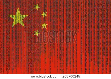 Data Protection China Flag. Chines Flag With Binary Code.