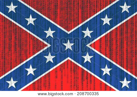 Data Protection Confederate Flag. Confederation Flag With Binary Code.