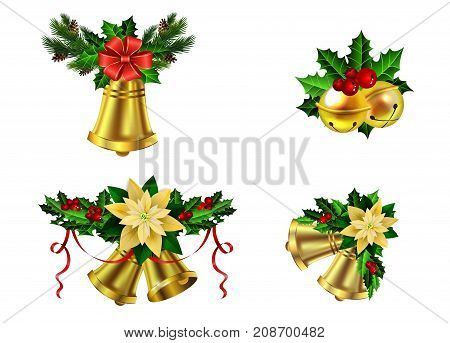 Christmas decoration set with evergreen trees and bells vector